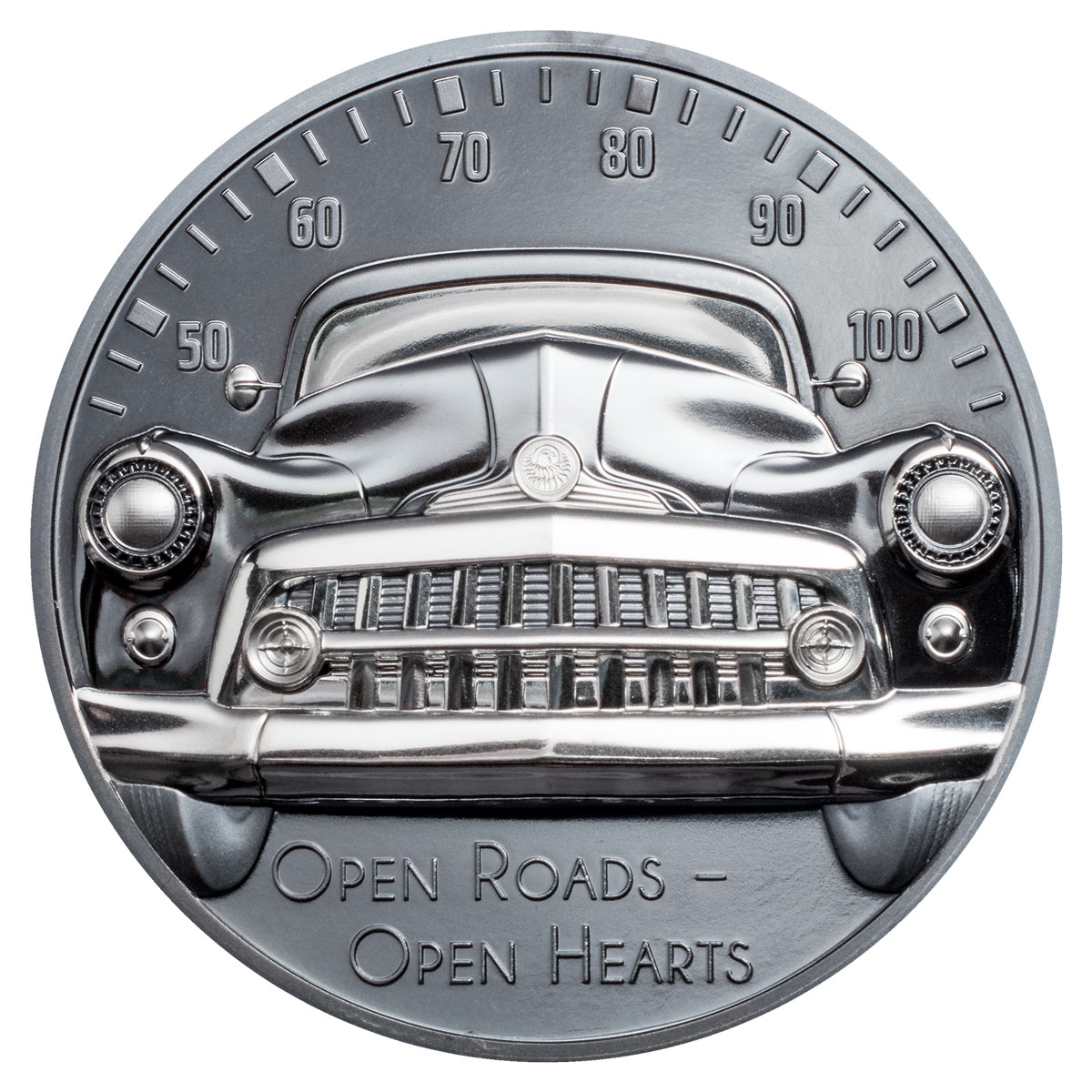 2021 Cook Islands Classic Car Ultra High Relief 2 oz Silver Black Proof $10 Coin GEM Proof OGP