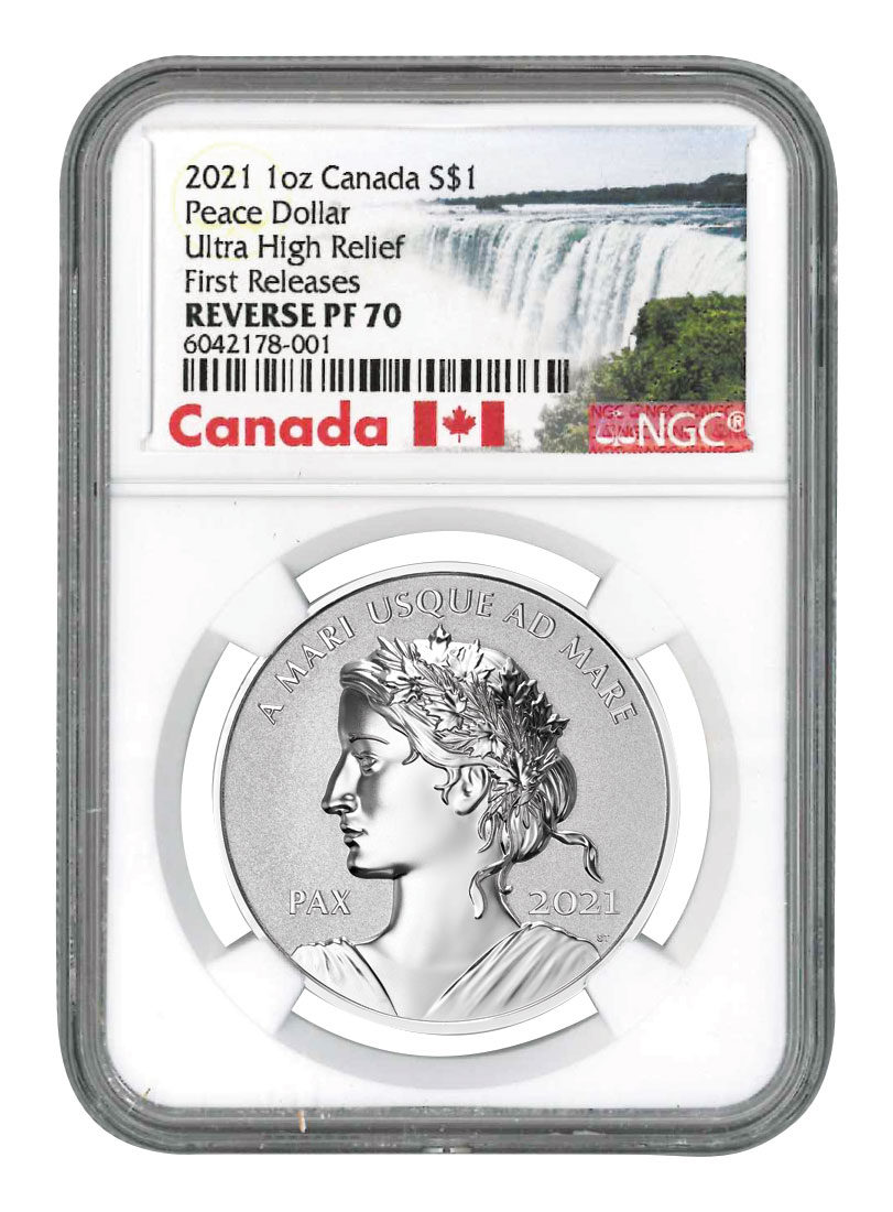 2021 Canada 1 oz Silver Peace Dollar Ultra High Relief Reverse Proof $1 Coin NGC PF70 FR COA Exclusive Canada Label