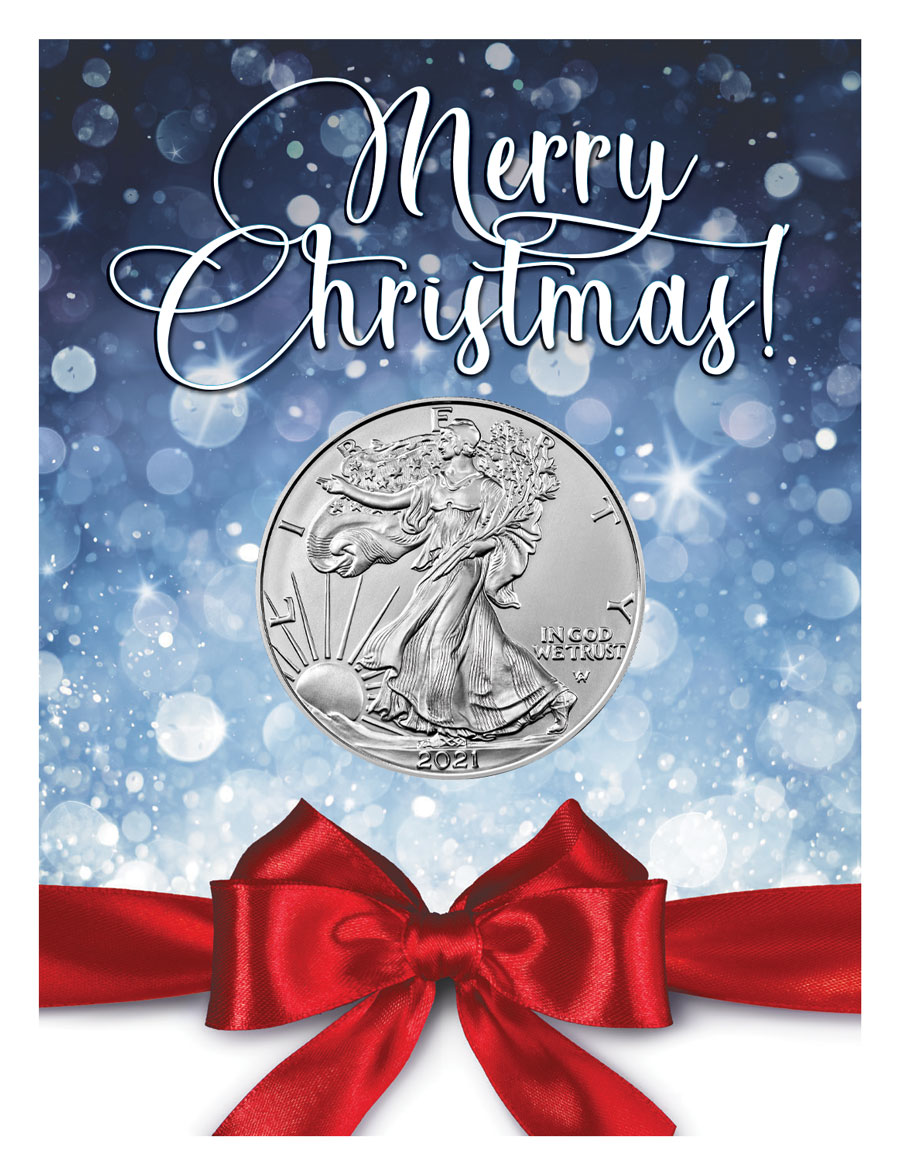 2021 American Silver Eagle Type 2 Holiday Merry Christmas Coin Card GEM BU