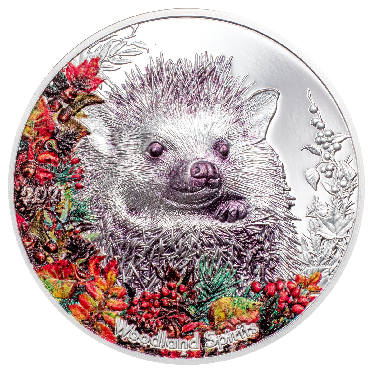 2021 Mongolia Woodland Spirits - Hedgehog High Relief 1 oz Silver Colorized Proof Coin GEM Proof In Mint Capsule