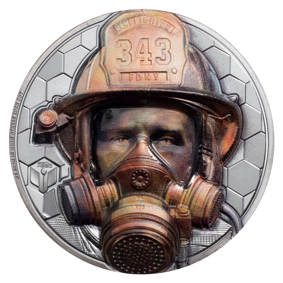 2021 Cook Islands Real Heroes - Firefighter Ultra High Relief 3 oz Silver Colorized Black Proof $20 Coin GEM Proof OGP
