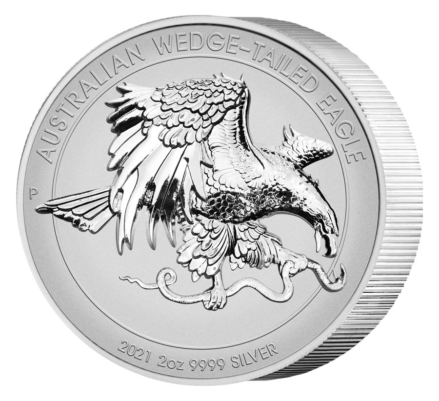 2021-P Australia 2 oz Silver Ultra High Relief Wedge-Tailed Eagle - Piedfort Reverse Proof $2 Coin GEM Proof OGP