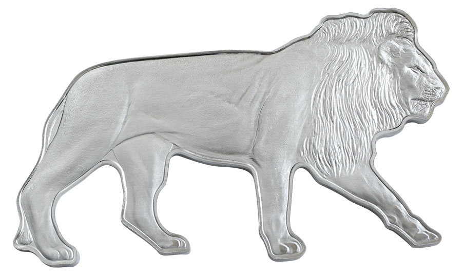2021 Solomon Islands Animals of Africa Series Lion Shaped 1 oz Silver Reverse Proof $2 Coin GEM Reverse Proof OGP