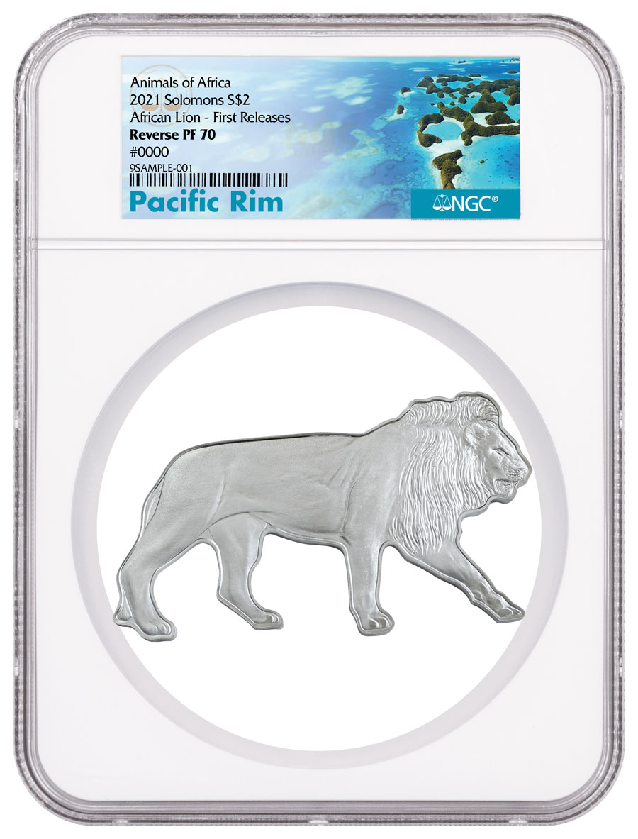 2021 Solomon Islands Animals of Africa Series Lion Shaped 1 oz Silver Reverse Proof $2 Coin NGC Rev PF70 FR Exclusive Pacific Rim Label