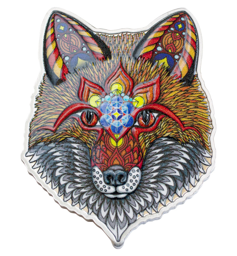 2021 Solomon Islands Spirit Animal Series - Electric Fox Shaped 1 oz Silver Colorized Prooflike $2 Coin GEM OGP
