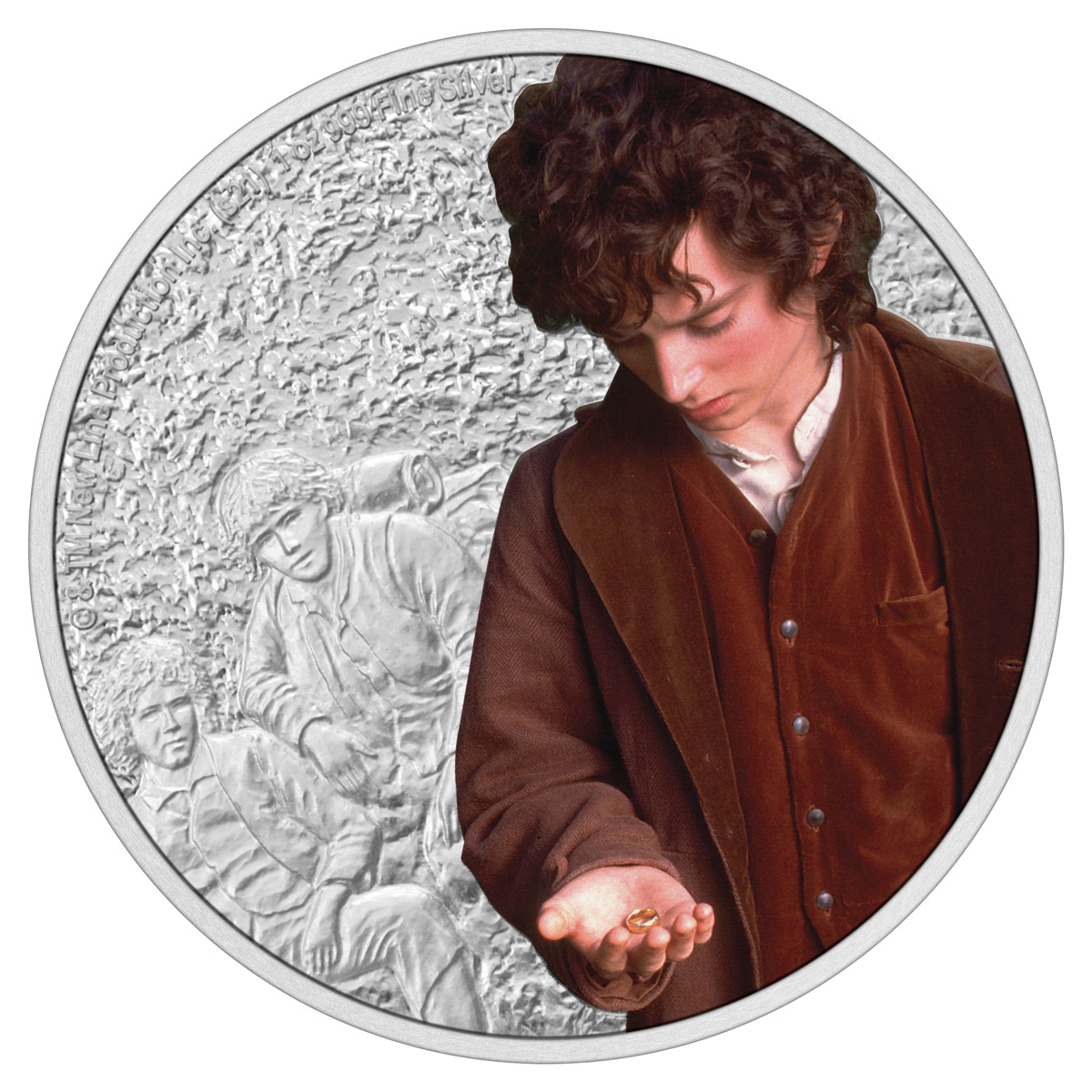 2021 Niue Lord of the Rings - Frodo Baggins 1 oz Silver Colorized Proof $2 Coin GEM Proof OGP