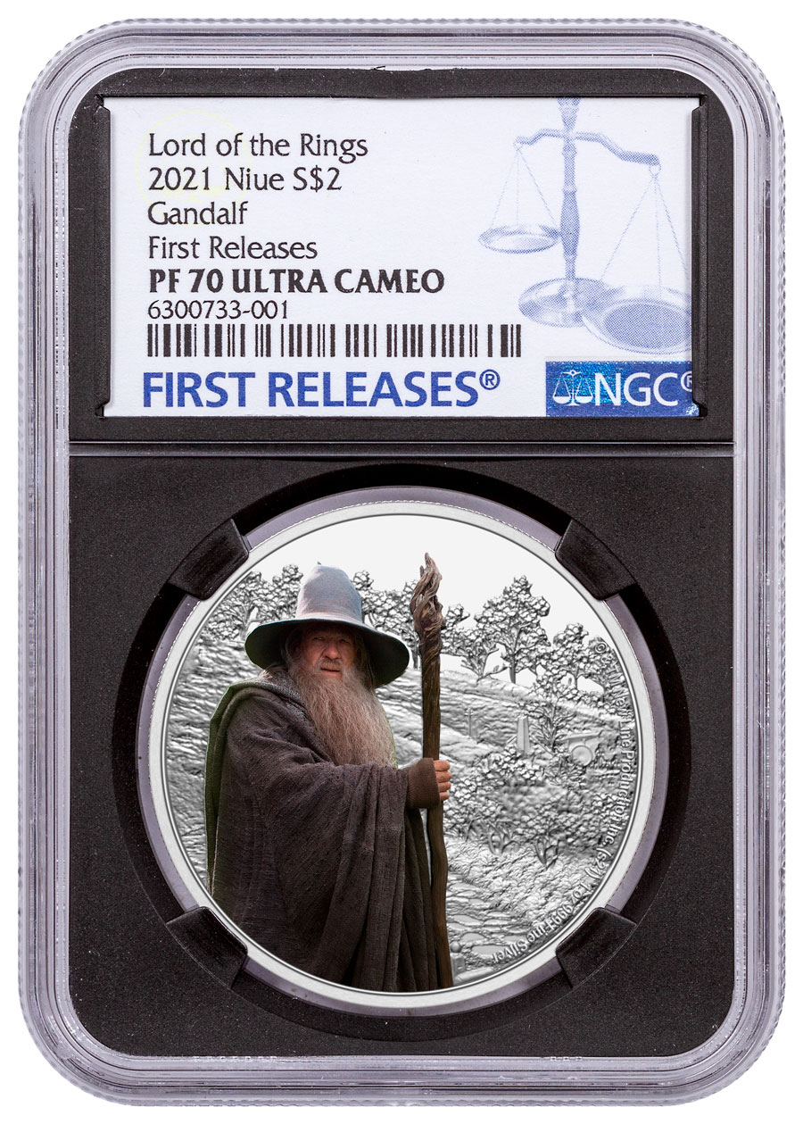 2021 Niue Lord of the Rings - Gandalf 1 oz Silver Colorized Proof $2 Coin NGC PF70 Black Core Holder