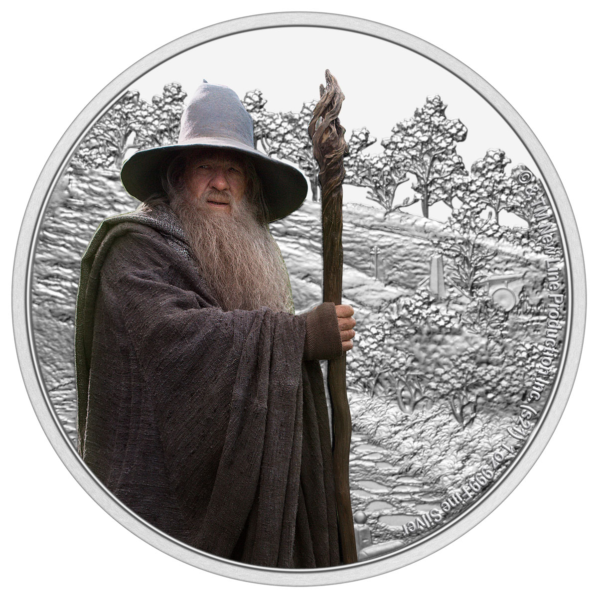 2021 Niue Lord of the Rings - Gandalf 1 oz Silver Colorized Proof $2 Coin GEM Proof
