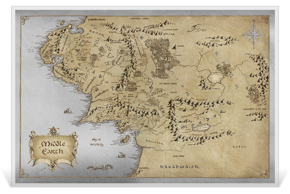 2021 Niue Lord of the Rings - Map of Middle Earth Foil Note 35 g Silver Colorized Proof $2 Coin GEM Proof OGP