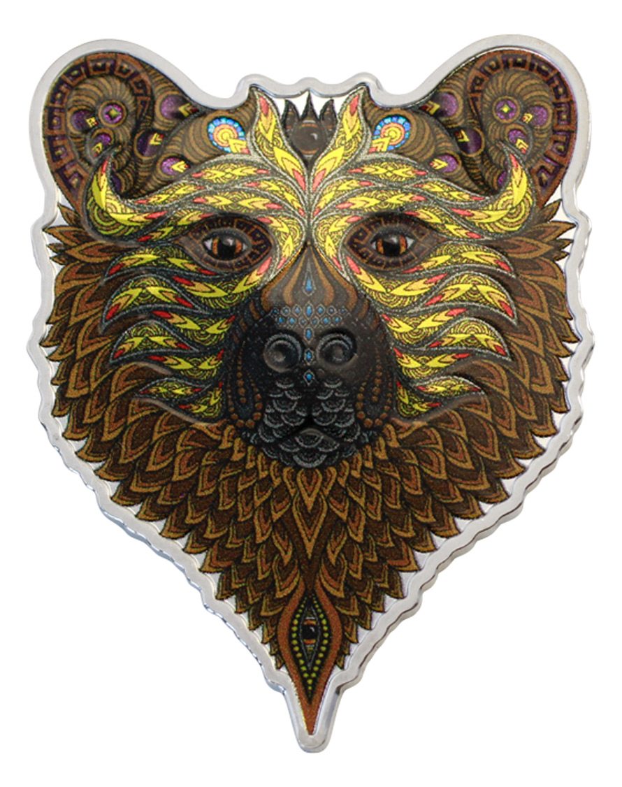 2021 Solomon Islands Spirit Animal Series - Grizzly Bear Shaped 1 oz Silver Colorized Prooflike $2 Coin GEM Prooflike OGP