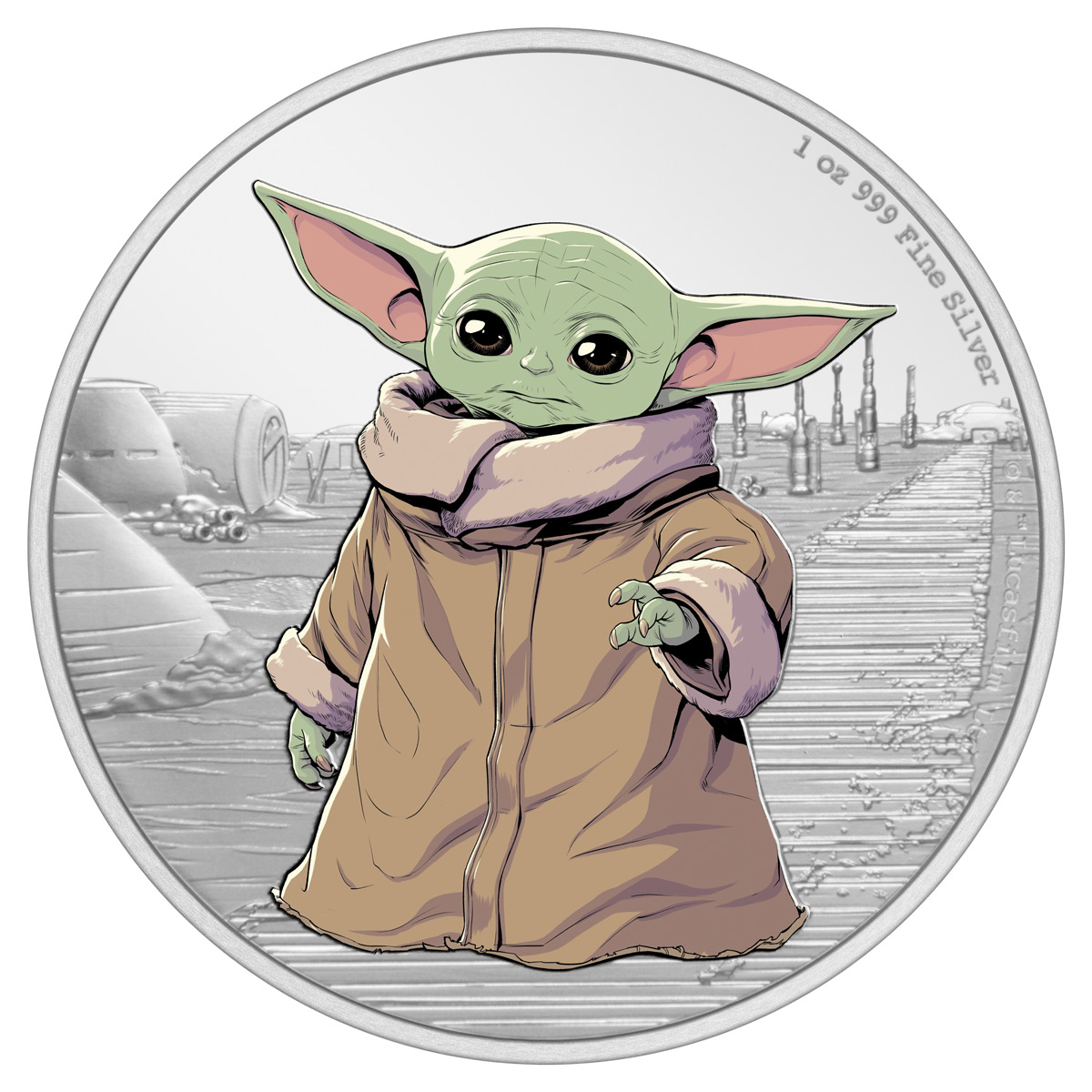 2021 Niue Star Wars - Mandalorian - The Child 1 oz Silver Colorized Proof $2 Coin GEM Proof OGP