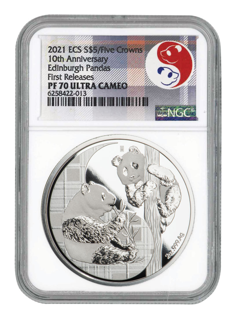 2021 Eastern Caribbean States Panda - 5 Crowns - 10th Anniversary 2 oz Silver Proof $5 Coin NGC PF70 UC FR