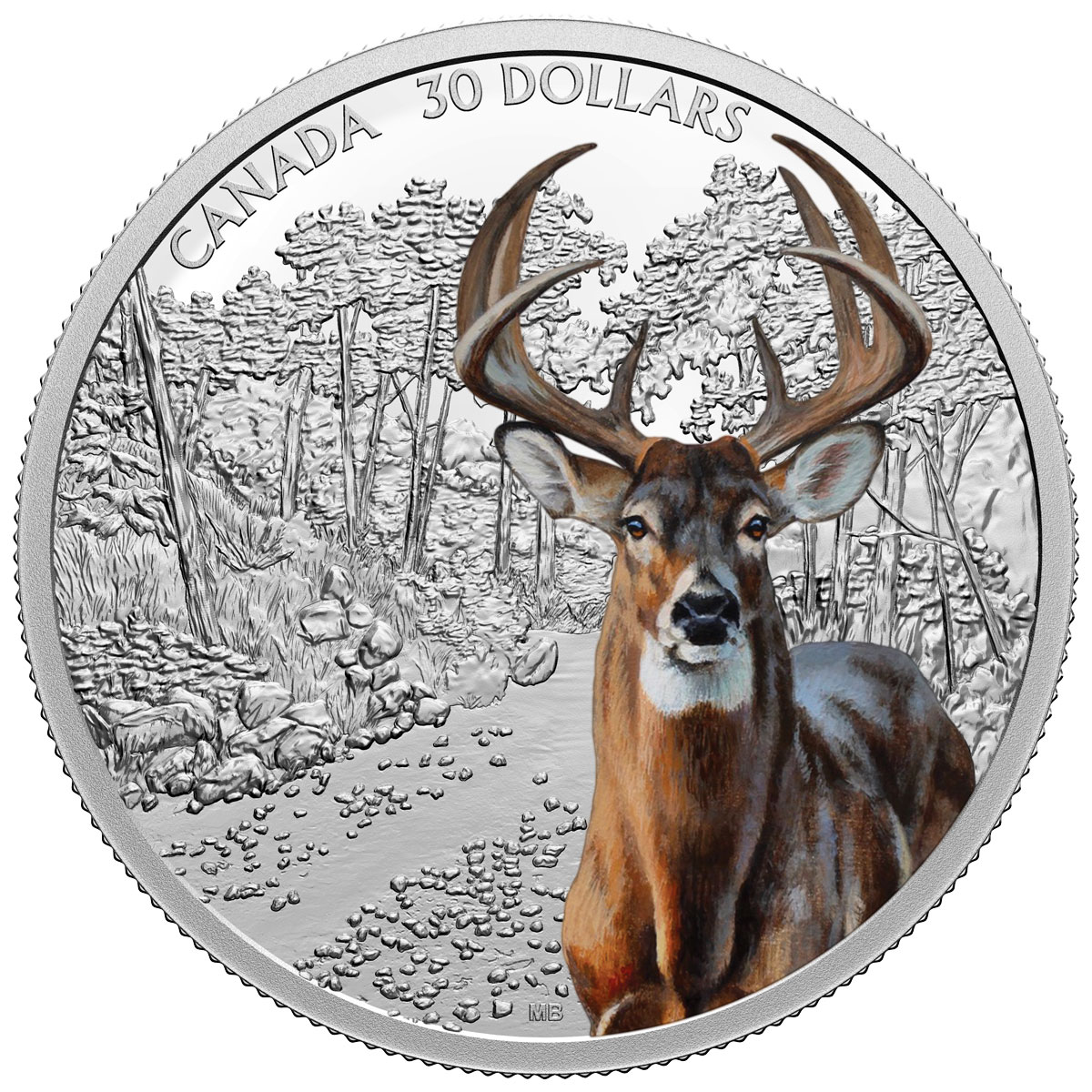 2021 Canada Imposing Icons - White Tailed Deer 2 oz Silver Colorized Proof $30 Coin GEM Proof OGP