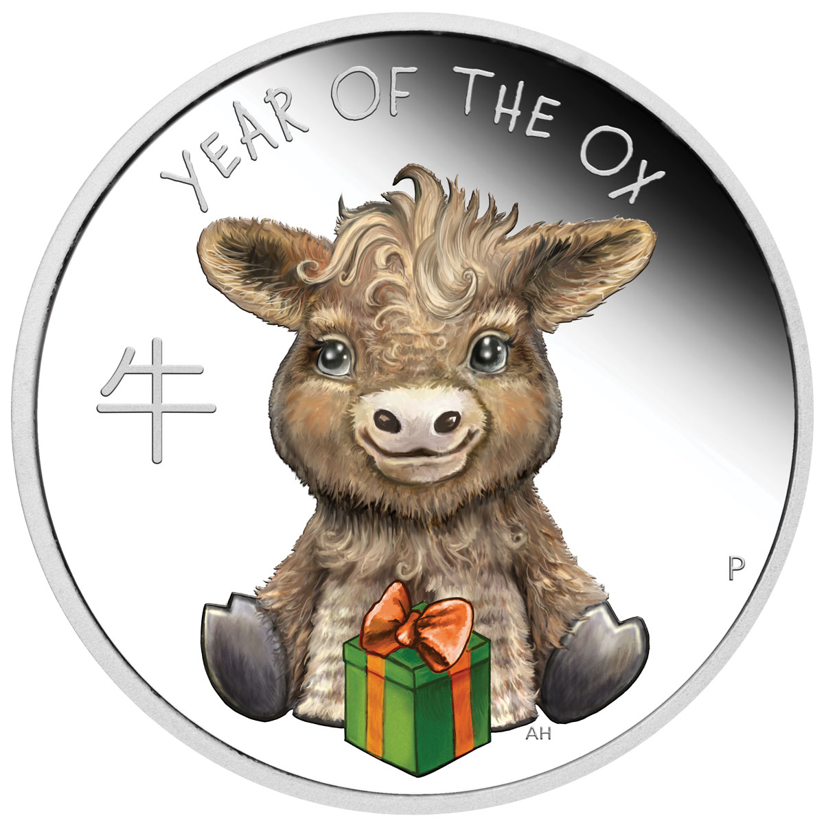 2021-P Tuvalu Baby Ox 1/2 oz Silver Lunar Year of the Ox Colorized Proof $0.50 Coin GEM Proof