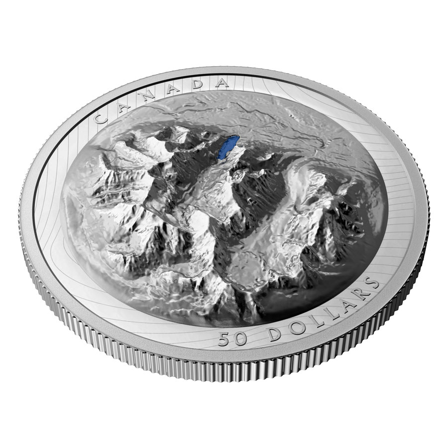 2021 Canada Lake Louise Extraordinary High Relief Silver Colorized Proof $50 Coin GEM Proof OGP