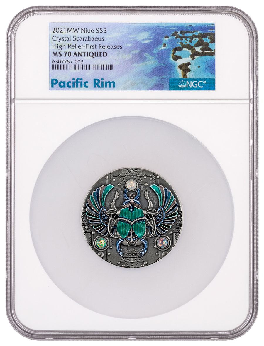 2021 Niue Crystal Scarabaeus High Relief 2 oz Silver Colorized Antiqued $5 Coin NGC MS70 FR With OGP Exclusive Pacific Rim Label
