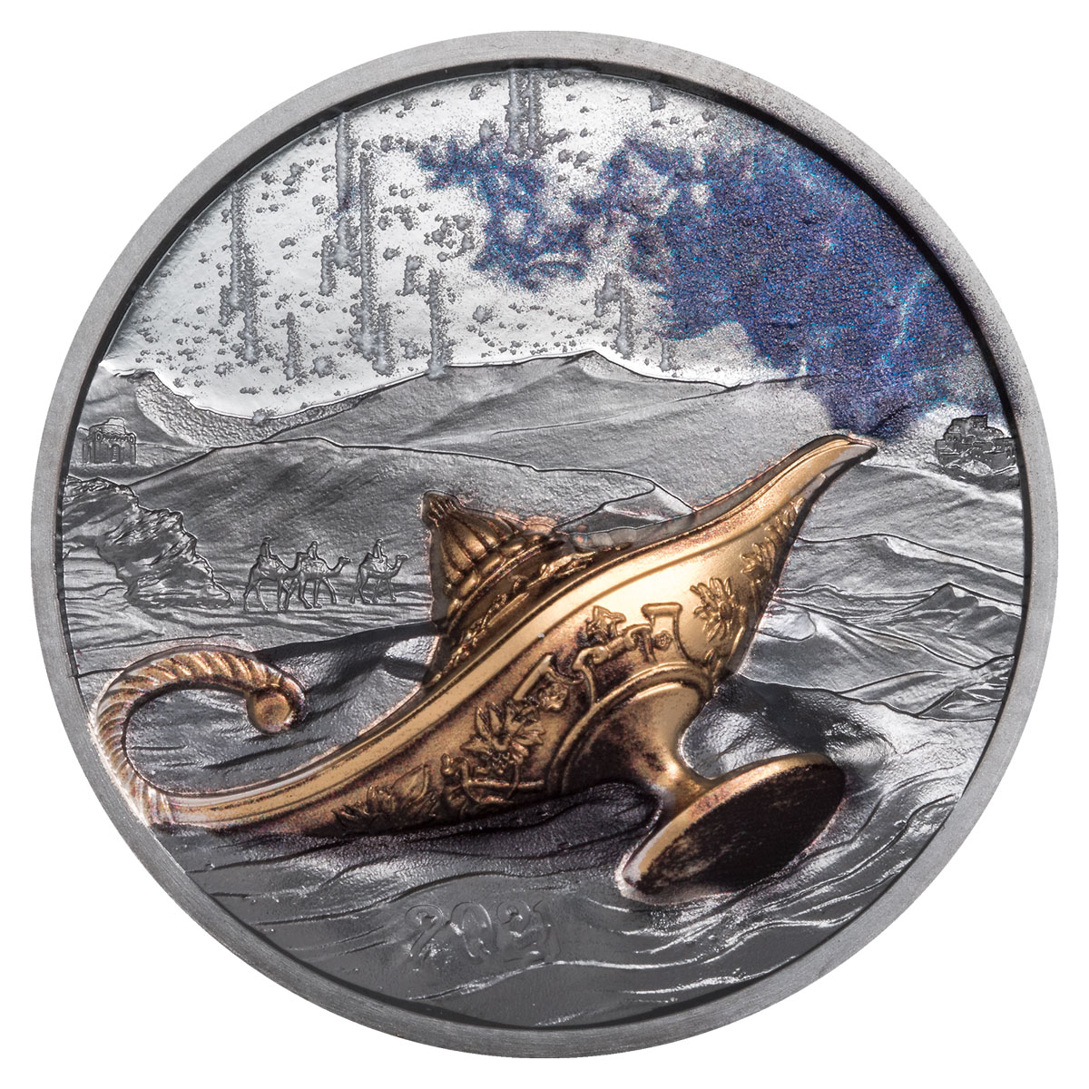 2021 Palau Magical Lamp Ultra High Relief 1 oz Silver Colorized Gilt Black Proof $5 Coin GEM Proof OGP
