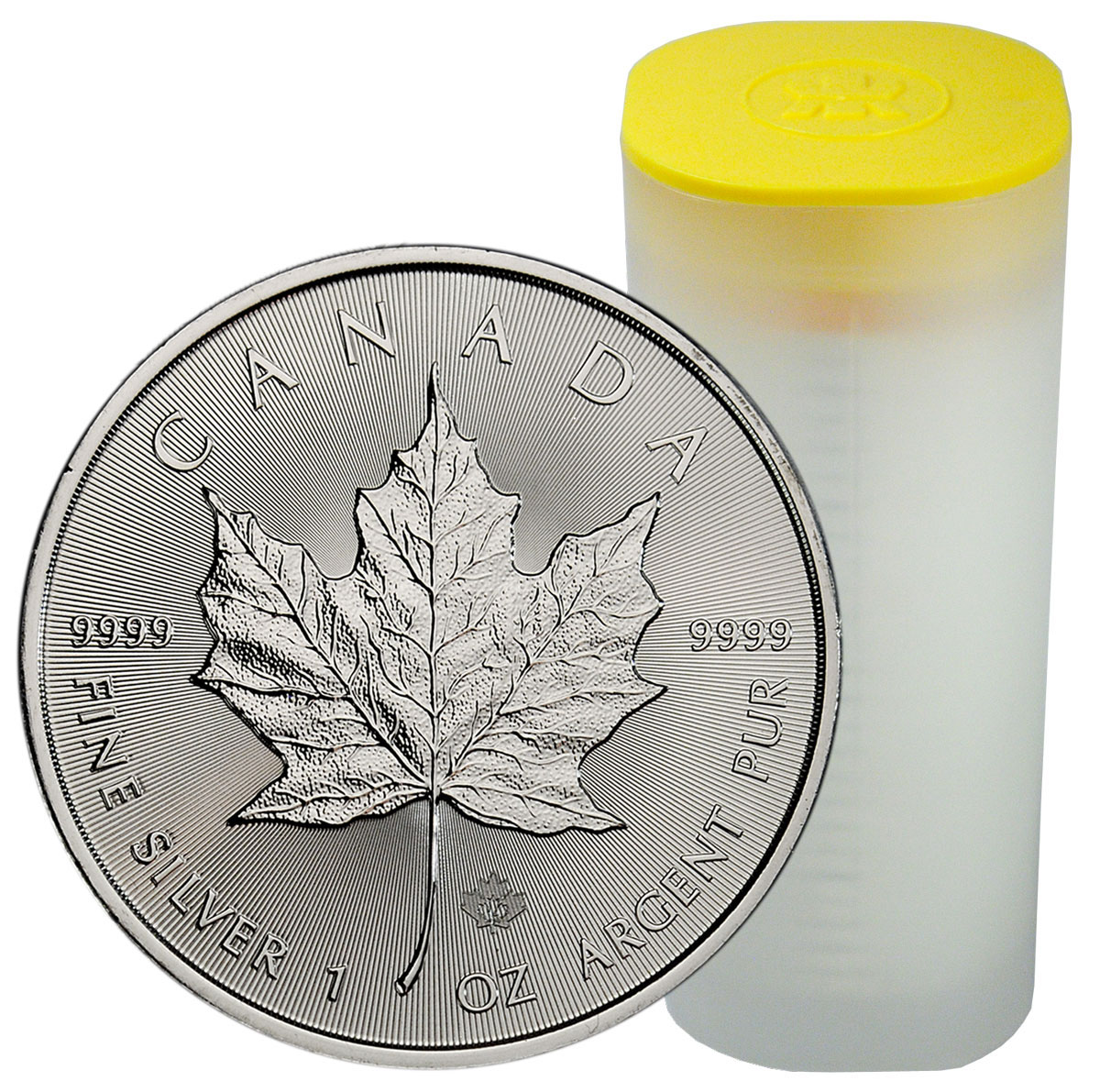 Roll of 25 - 2021 Canada 1 oz Silver Maple Leaf $5 Coins GEM BU