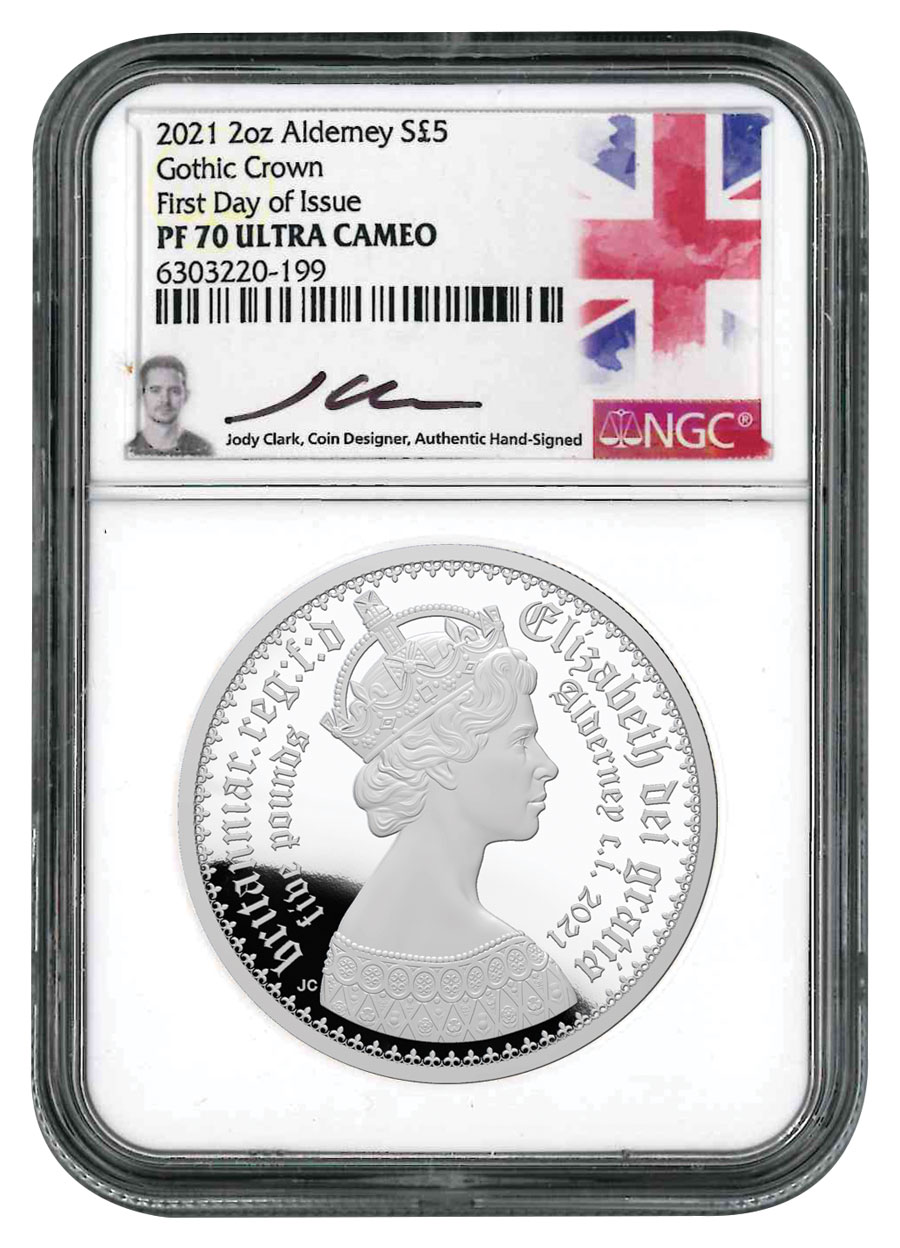 2021 Alderney Gothic Crown 2 oz Silver Proof £5 Coin Scarce and Unique Coin Division NGC PF70 FDI Jody Clark Signed Label