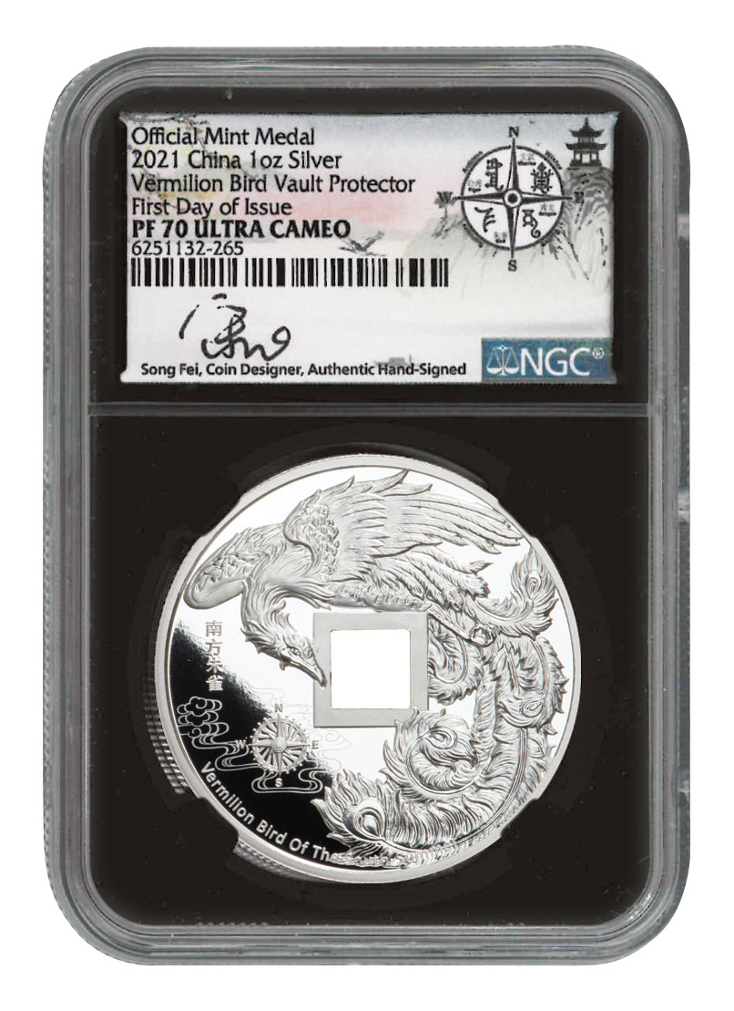 2021 China Vault Protector Vermilion Bird of the South 1 oz Silver Proof Medal Scarce and Unique Coin Division NGC PF70 UC FDI Song Fei Signed Label