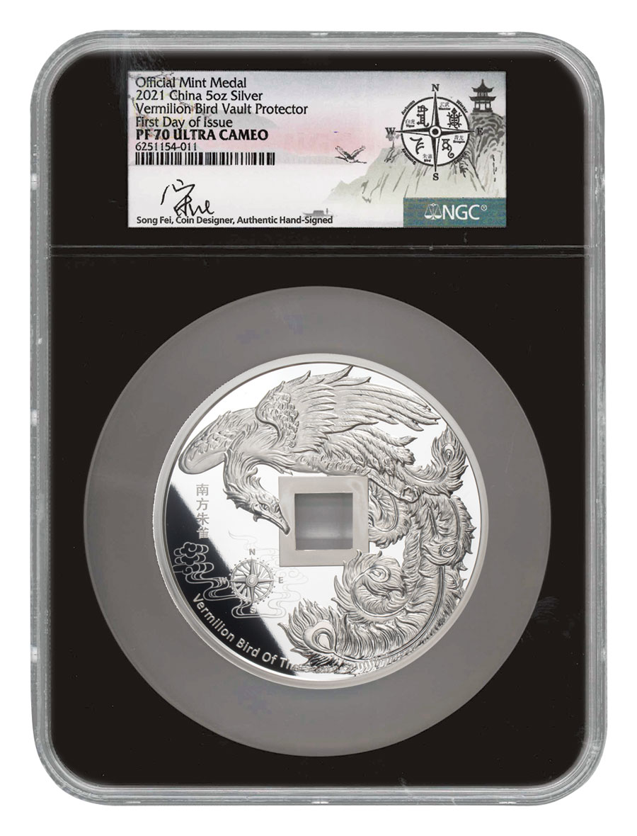 2021 China Vault Protector Vermilion Bird of the South 5 oz Silver Proof Medal Scarce and Unique Coin Division NGC PF70 UC FDI Exclusive Song Fei Signed Label