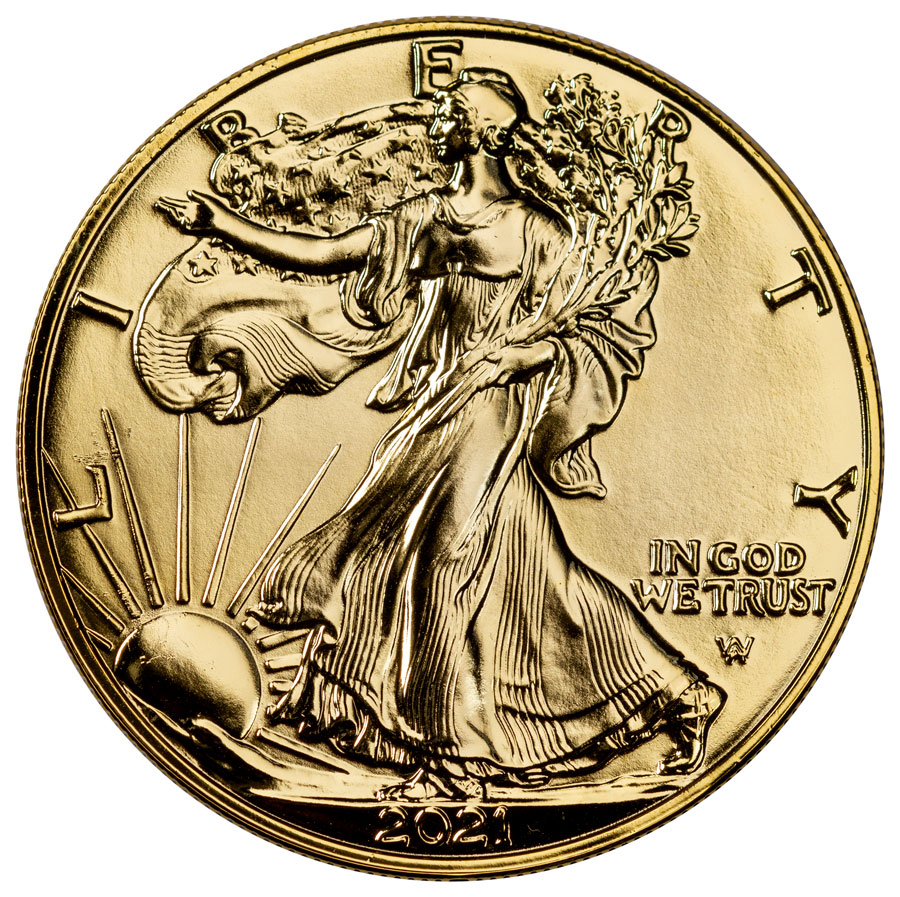 2021 Gilded 24K Gold American Silver Eagle Type 2 GEM BU Box with COA