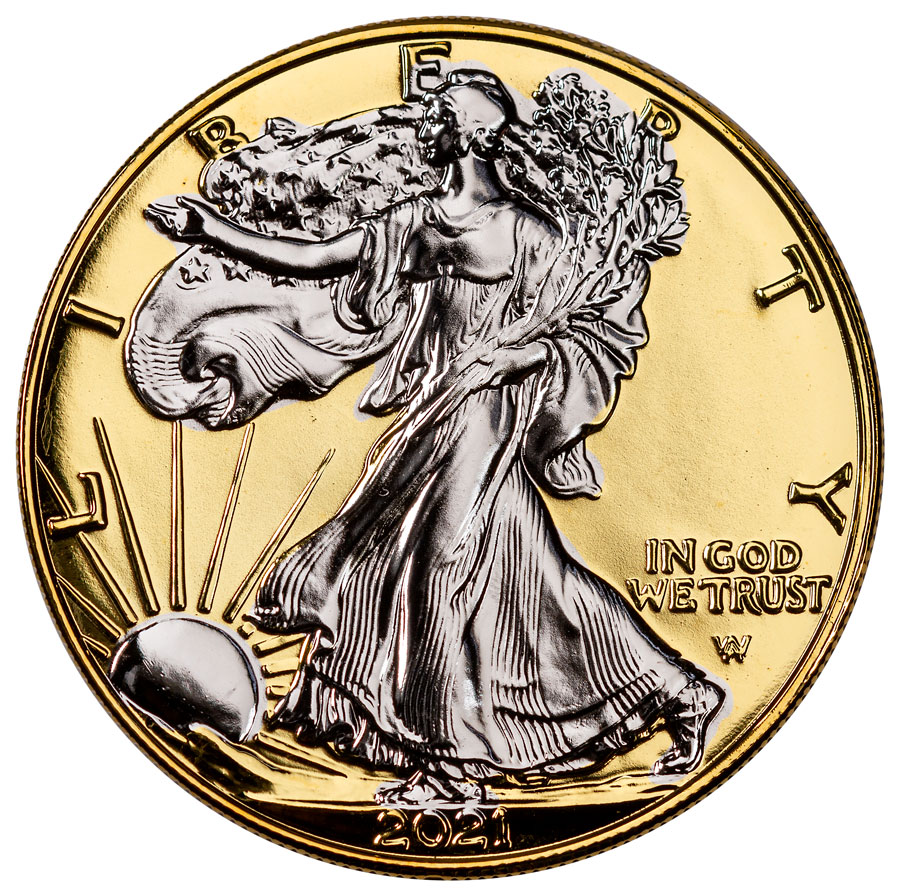 2021 Gilded 24K Gold Background American Silver Eagle Type 2 GEM BU Box with COA