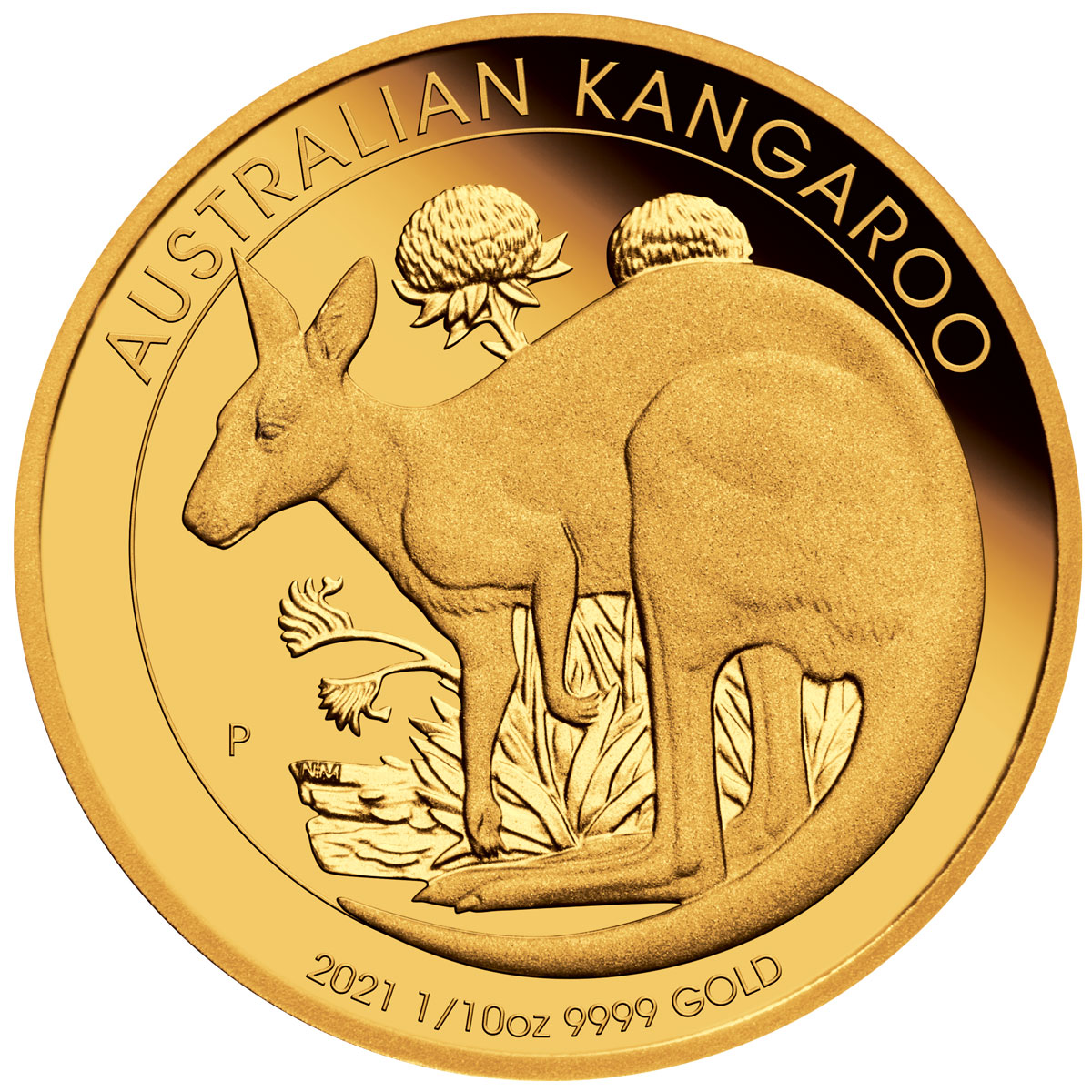 2021-P Australia Gold Kangaroo 1/10 oz Gold Proof $15 Coin GEM Proof OGP