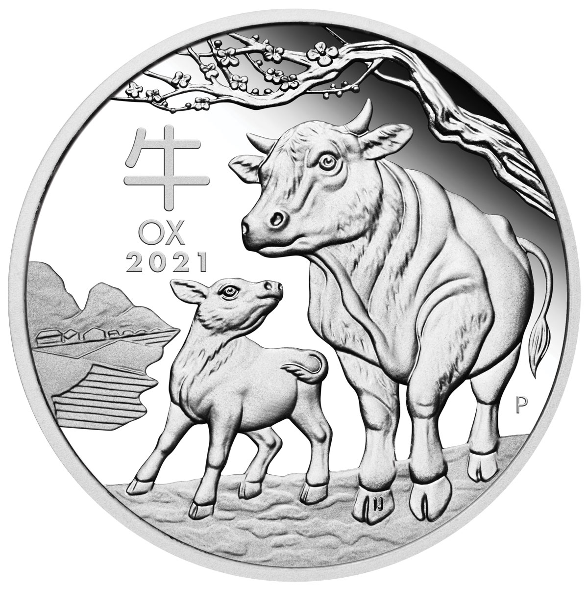 2021-P Australia 1 oz Silver Lunar Year of the Ox Proof $1 Coin GEM Proof OGP