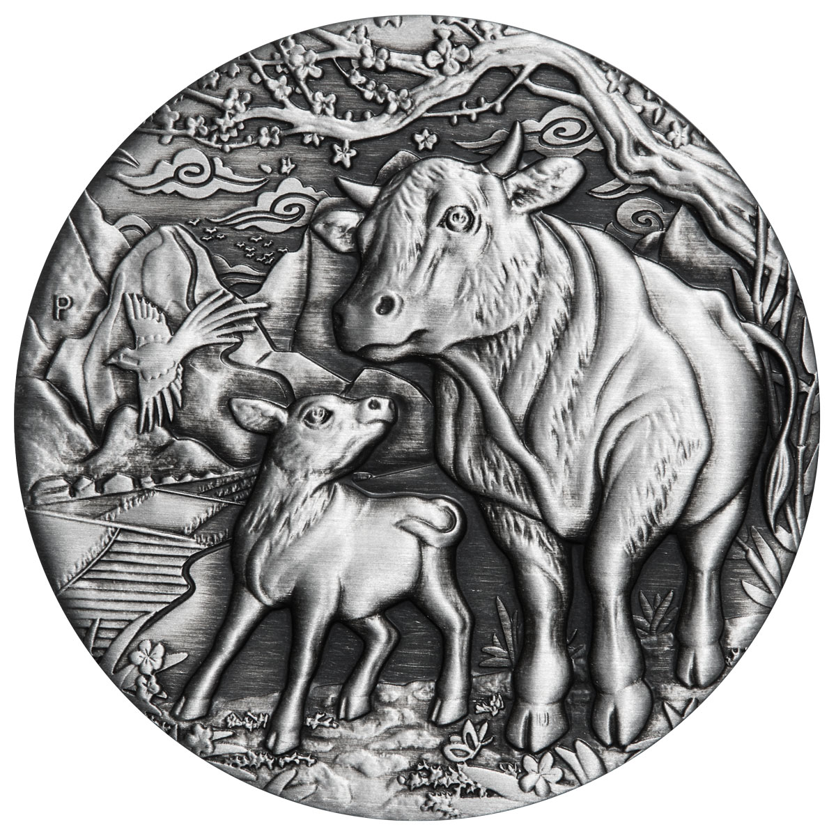 2021-P Australia 2 oz Silver Lunar Year of the Ox Antiqued $2 Coin GEM BU OGP