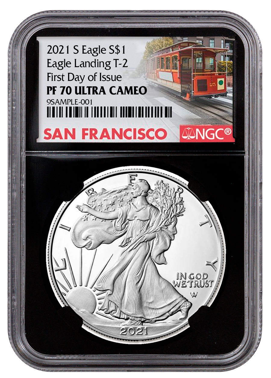 2021-S Proof American Silver Eagle Type 2 NGC PF70 UC FDI Black Core Holder Cable Car Label