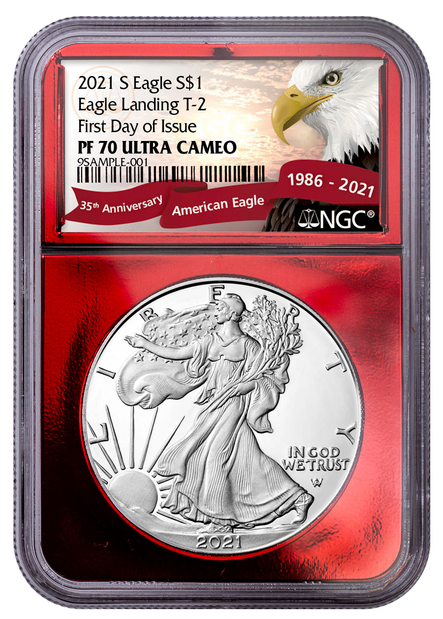 2021-S Proof American Silver Eagle Type 2 NGC PF70 UC FDI Red Foil Core Exclusive Eagle Label