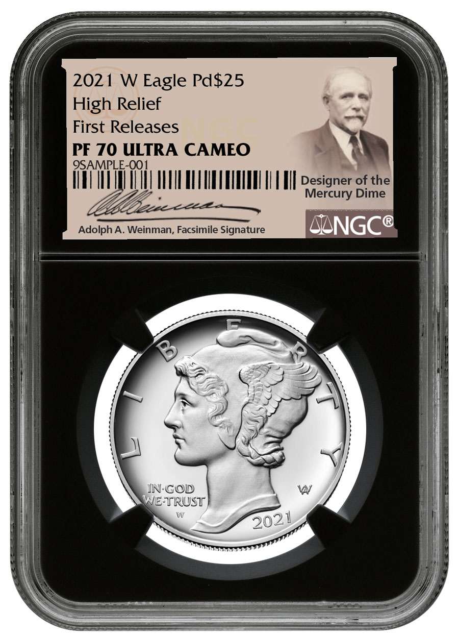 2021-W 1 oz High Relief Palladium Eagle Proof $25 Coin NGC PF70 FR Black Core Holder Weinman Label