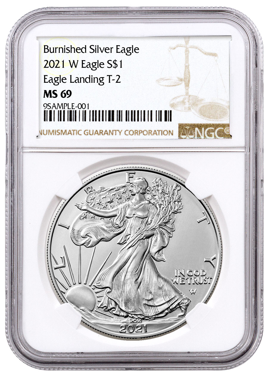 2021-W Burnished American Silver Eagle Type 2 NGC MS69 Brown Label
