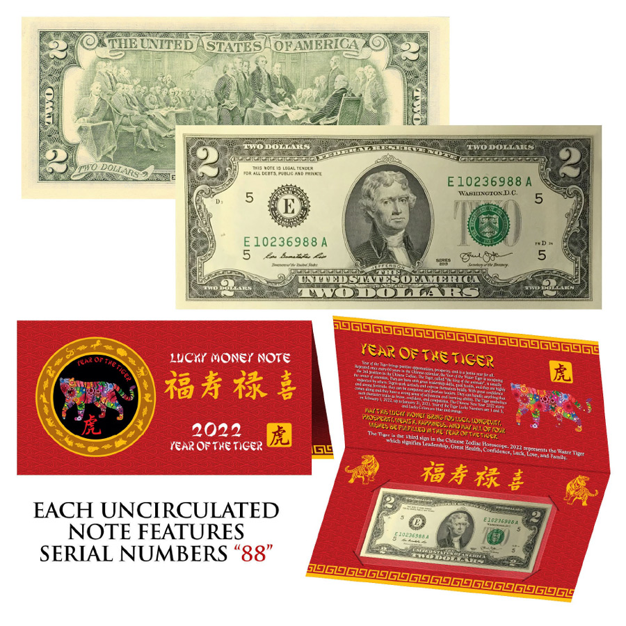 2022 $2 Federal Reserve Note - Jefferson - Lunar Year of the Tiger Double 88'S