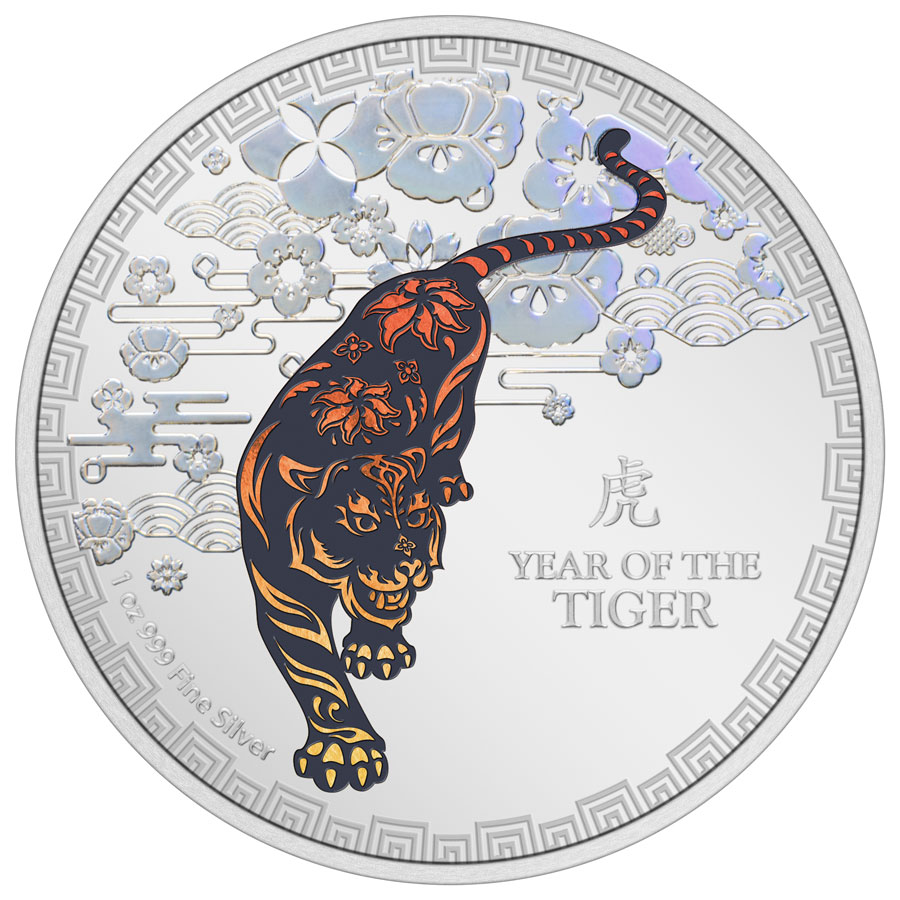 2022 Niue Year of the Tiger 1 oz Silver Lunar Colorized Proof $2 Coin GEM Proof OGP