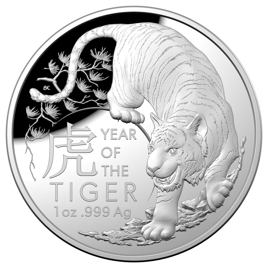 2022 Australia Year of the Tiger Domed 1 oz Silver Proof $5 Coin GEM Proof