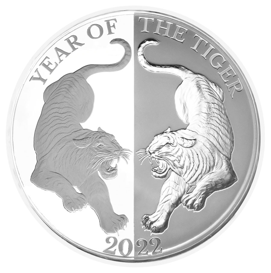 2022 Tokelau 1 oz Silver Year of the Tiger Mirror Proof $5 Coin GEM Proof