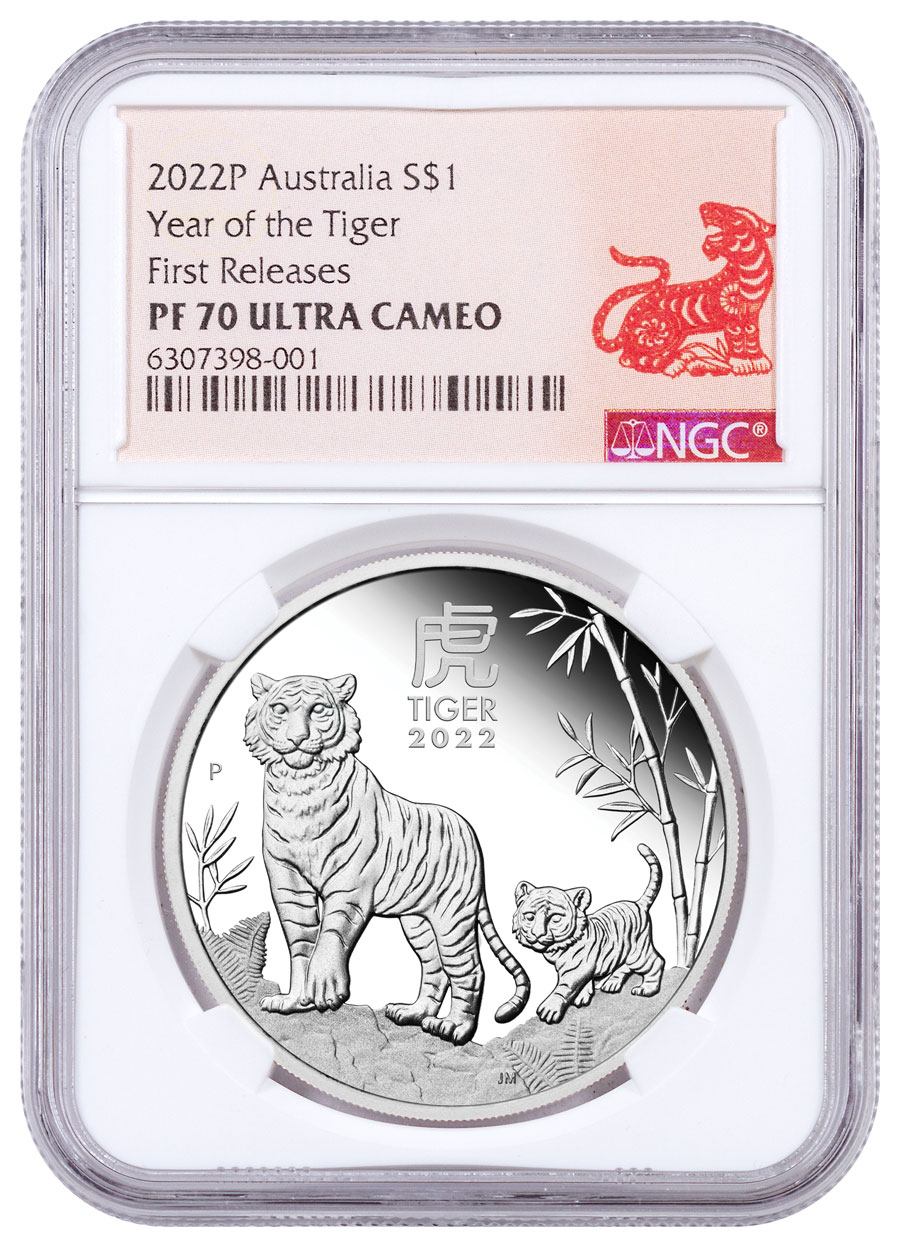 2022-P Australia Lunar Series III - Year of the Tiger 1 oz Silver Proof $1 Coin NGC PF70 FR Year of the Tiger Label