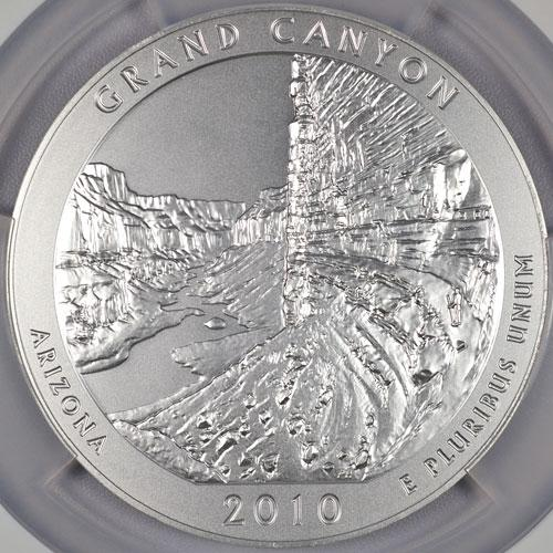Image 2: 2010-P 5 Oz America The Beautiful NP4 Grand Canyon-Light Finish NGC SP70 ER Specimen 70 Early Releases