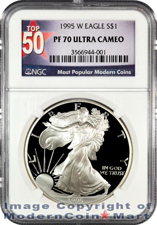 1995-W Silver Eagle NGC PF70 UC Proof 70 Ultra Cameo ***TOP 50 LABEL***