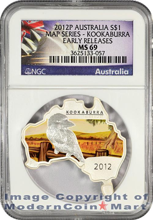 2012-P Australia 1 Oz Silver Map Shaped Series - Kookaburra $1 NGC MS69 ER Mint State 69 Early Releases
