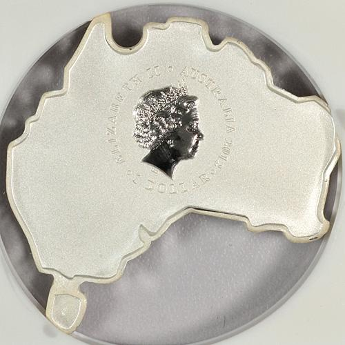 Image 3: 2012-P Australia 1 Oz Silver Map Shaped Series - Kookaburra $1 NGC MS69 ER Mint State 69 Early Releases