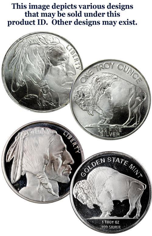 Private Mint Buffalo Nickel Design 1 oz Silver Round