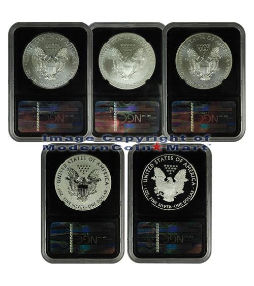 2011 Silver Eagle 25th Anniversary 5-Coin Set NGC PF70 ER (Black Core)