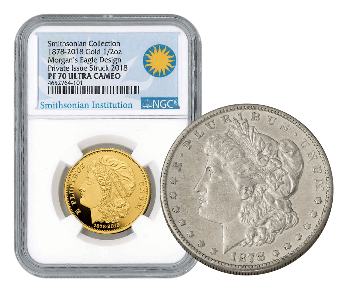 2-Coin Set - (2018) Smithsonian - 1878 Morgan Eagle Pattern Gold Proof Medal Scarce and Unique Coin Division NGC PF70 UC