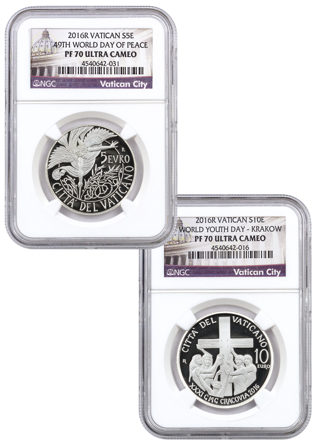 2016-R Vatican City 49th World Day of Peace and World Youth Day Silver Proof Coins NGC PF70 UC (Exclusive Vatican City Label)