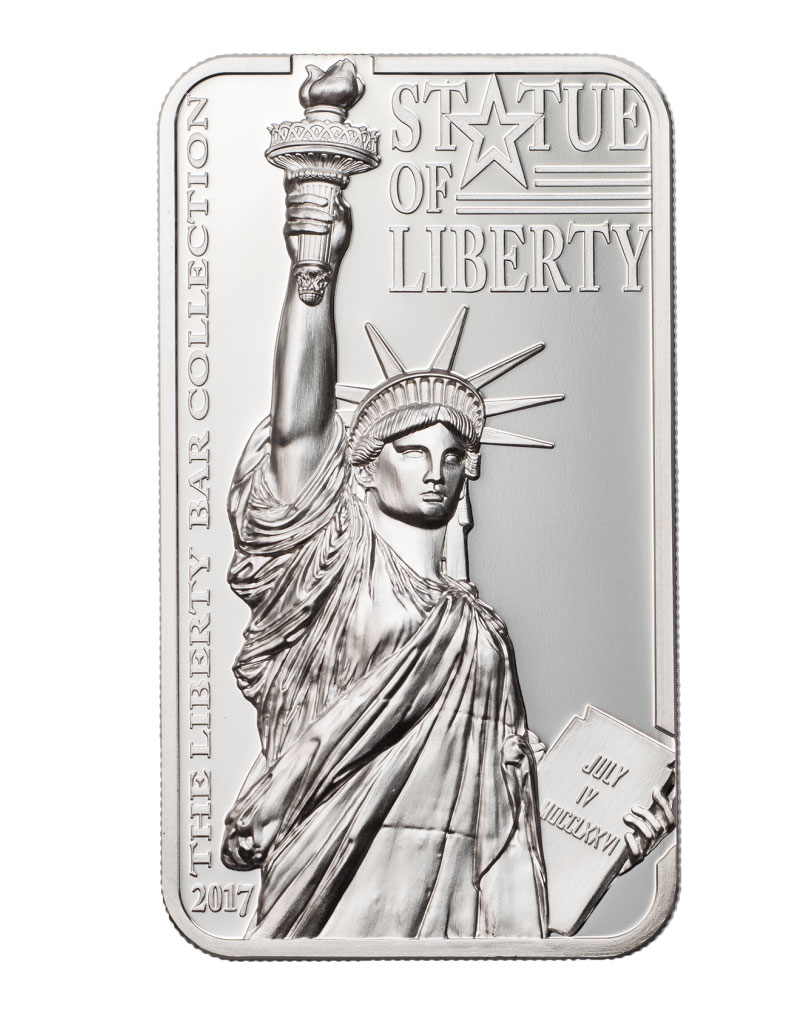 2017 Cook Islands Liberty Bar - Statue of Liberty High Relief Rectangle Silver Proof $10 Coin GEM Proof OGP