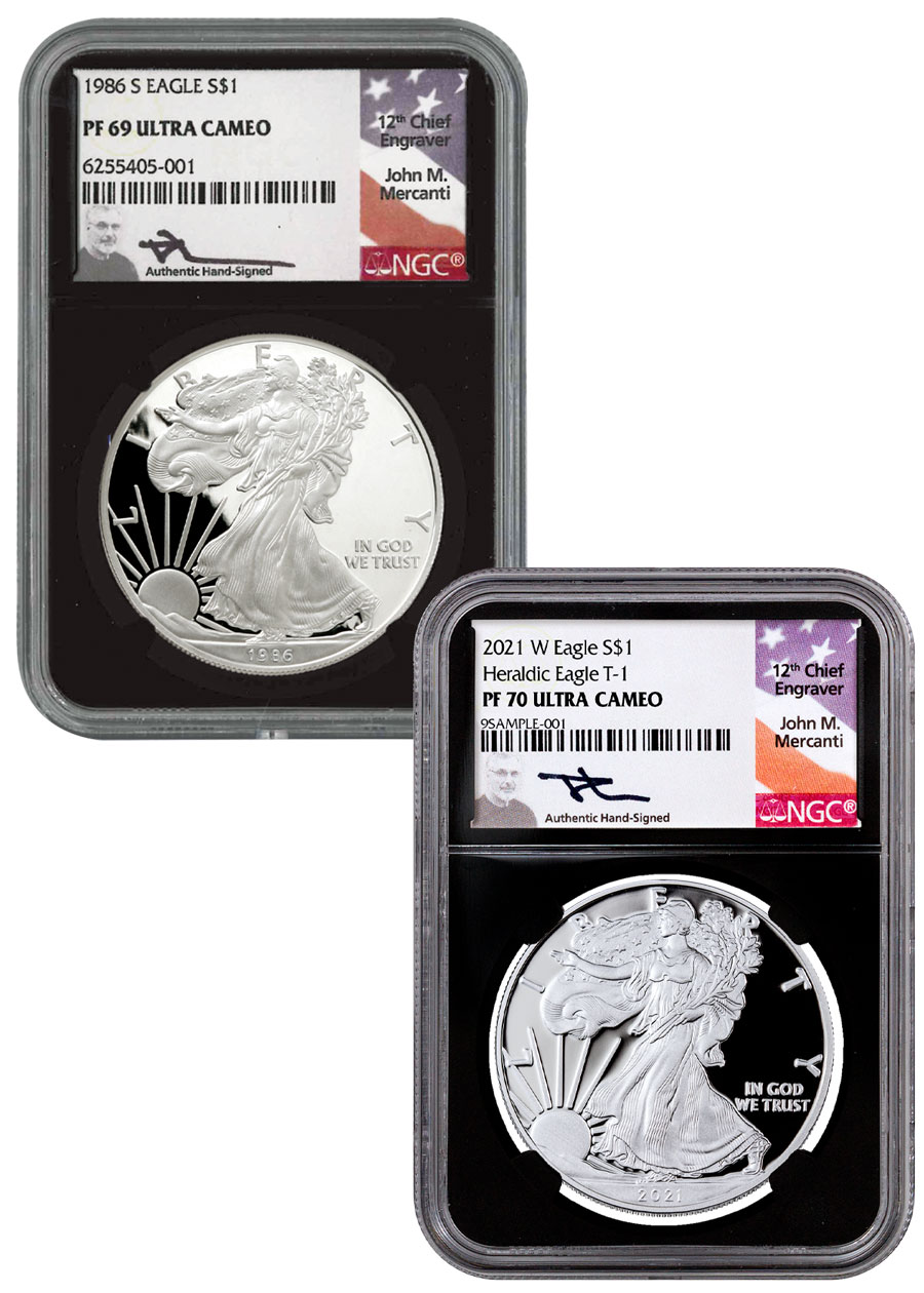 1986-S & 2021-W Proof American Silver Eagle 2-Coin Set NGC PF69 & PF70 UC Black Core Holder Mercanti Signed Flag Label