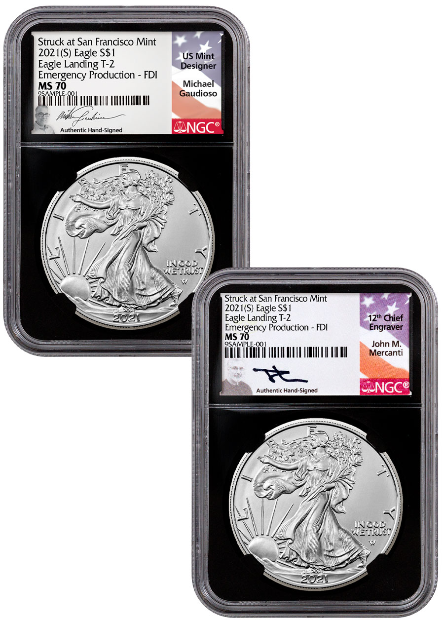 2-Coin Set - 2021-(S) American Silver Eagle Struck at San Francisco Mint Type 2 Scarce and Unique Coin Division NGC MS70 Emergency Production FDI Black Core Holder Gaudioso/Mercanti Signed Labels